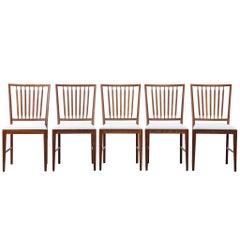 Set of Five Swedish Dining Chair Scandinavian Design Teak Vintage