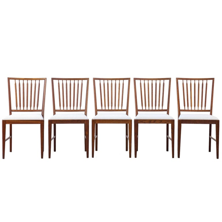 Set of Five Swedish Dining Chair Scandinavian Design Teak Vintage