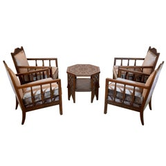 20th Century Vintage Moorish Armchairs and Table, Set of Five, 1930s