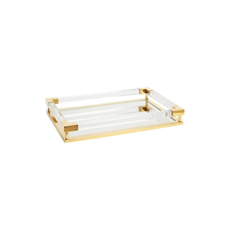 Small Jacques Tray in Clear Lucite and Brass