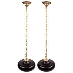 Pair of Ceramic Dentist Bowls Converted to Lighting Pendants