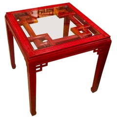 Midcentury American Chinese Chippendale Style Red Lacquered Square Table