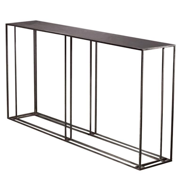 Loft Binate Contemporary Art Deco Minimal Steel Metal Console Table For Sale