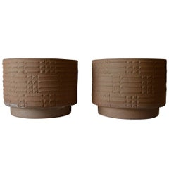 Pair of Large Scale David Cressey Unglazed Stoneware Vessels, circa 1970