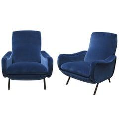 "1950s Marco Zanuso Blue Velvet ""Lady""  Armchairs"