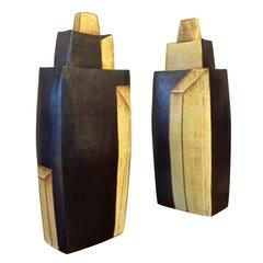 Tall Architectural Pair of Sequoia Miller Art Pottery Covered Urns, 2009