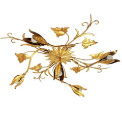 Huge Art Nouveau Style Floral Gilt Iron Wall Sconce or Light Fixture, 1930s
