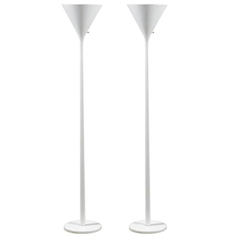 Pair of White Torchiere Floor Lamps by Nessen For Sale