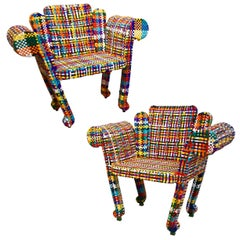 1980s Anacleto Spazzapan Italian Pop Art Pair of Colorful Baroque Armchairs