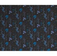Herbario Designer Wallpaper in Color Tesla Blue Multicolor on Black