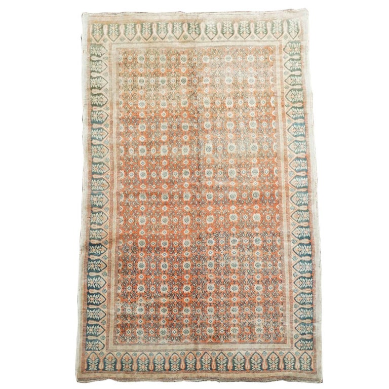 Antique Cotton Agra Rug With Abrash Circa 1900 For Sale: 1920s Red Antique Indian Agra Rug For Sale At 1stdibs