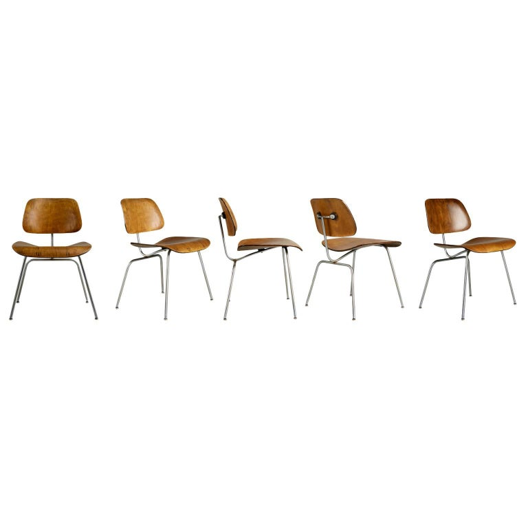 Evans Production Walnut DCM Chairs by Charles Eames, Set of Five, circa 1947 For Sale