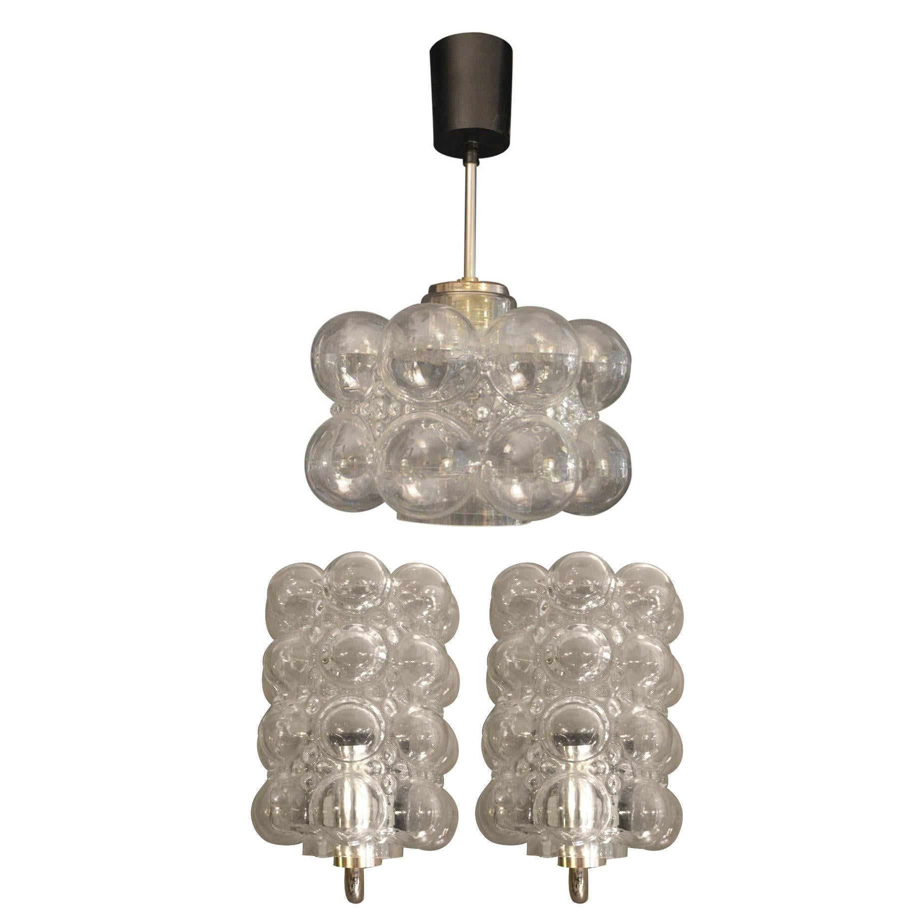 Pair of Handblown Glass Bubble Sconces with Matching Pendant Chandelier