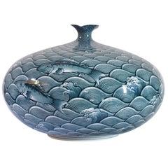 Large Japanese Blue Hand-Painted Porcelain Vase by Master Artist