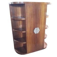 1930s Art Deco Macassar Wood two Doors Rounded Corners Bar Cabinet