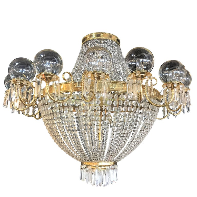 Palatial Neoclassical Brass and Crystal Basket Chandelier with Hanging Prisms