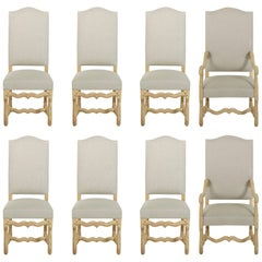 Mid-20th Century Set of Eight French Oak Mutton Leg Dining Chairs