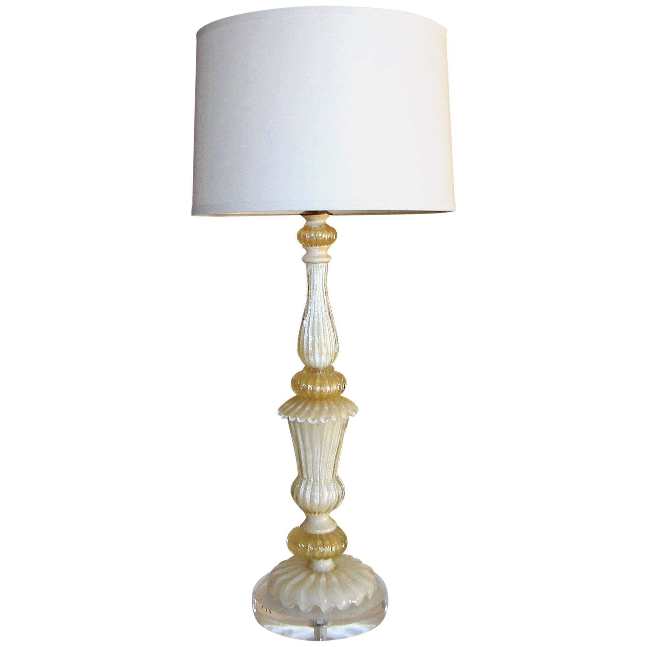 Murano Italian Glass White Gold Table Lamp