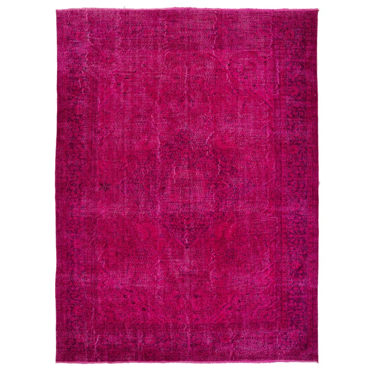 Vintage Oriental Rug Overdyed In Hot Fuchsia Pink Color For Sale At