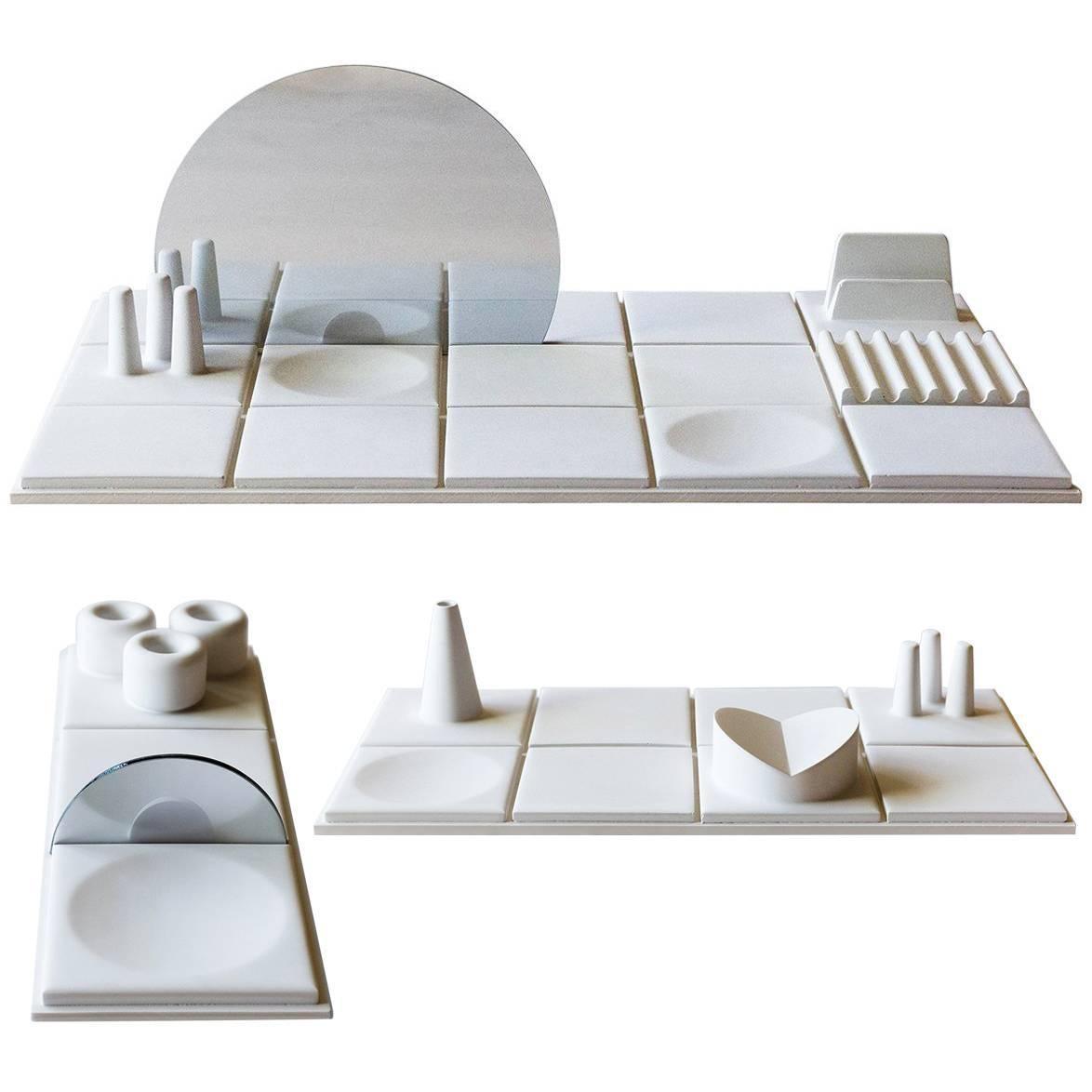 Salle de Bain, Set of Three, Handmade Cast Concrete Tray in White by UMÉ Studio