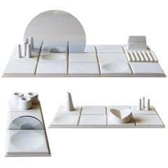 Salle de Bain, Set of Three, Handmade Cast Concrete Tray in White by UMÉ Studio
