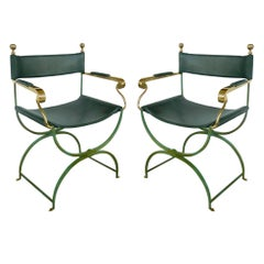 Pair of Brass Director's Chairs by Valenti, Spain