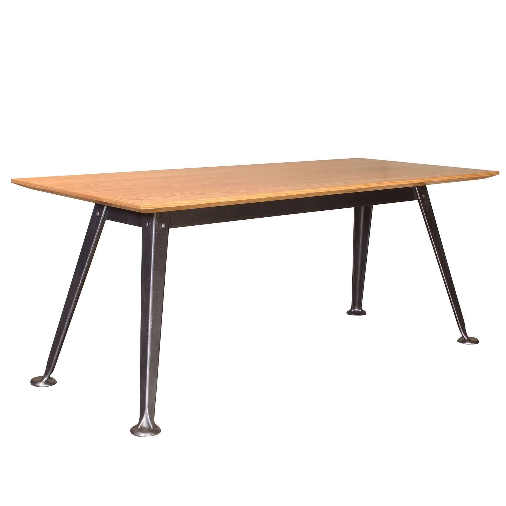 Bespoke Industrial Oak and Cast Iron Splay-Leg Table