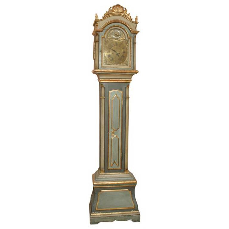 Danish 18th Century Painted and Parcel-Gilt Longcase Clock 1