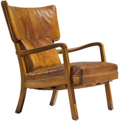 Peter Hvidt Unique Early Wingback Chair in Cognac Leather