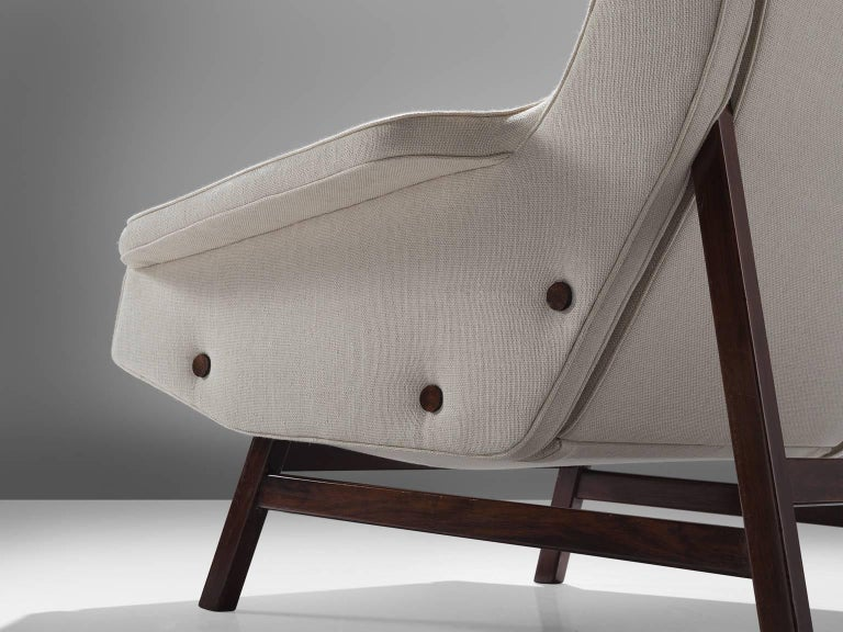 Fabric Gianfranco Frattini Reupholstered Lounge Chair for Cassina