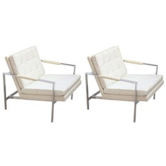 Pair of Modern Milo Baughman White Naugahyde and Chrome Lounge Chairs
