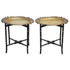 English Silver Plate Tray Tables on Faux Bamboo Stands
