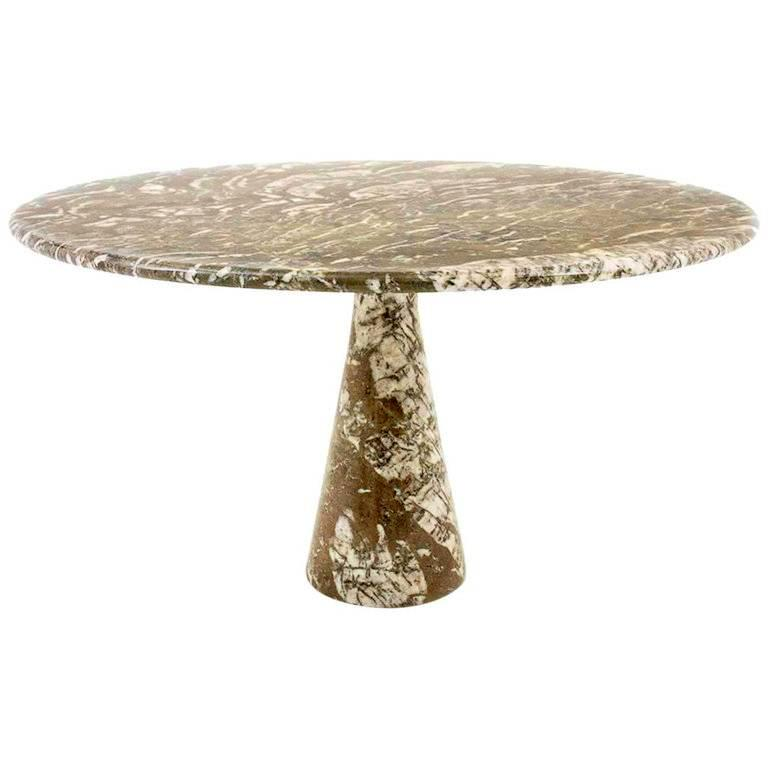 Italian Midcentury Light Brown Marble Dining Table by Angelo Mangiarotti, 1960s