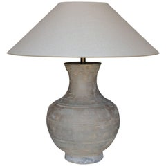 Large Chinese Han Dynasty Period Unglazed Vase as Table Lamp