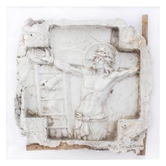 "Antique Belgian Plaster ""Master"" Altarpiece of Jesus & Stations of the Cross"