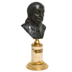 Patinated Louis XVI Bronze Bust of Benjamin Franklin