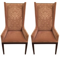 Stylish Pair of Camel Mohair High Back Wing Chairs