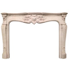 French 19th Century Louis XV Marble Fireplace Mantel