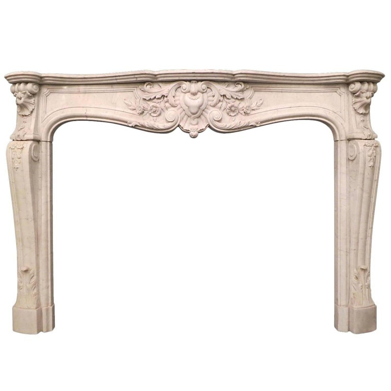 French 19th Century Louis XV Marble Fireplace Mantel For Sale