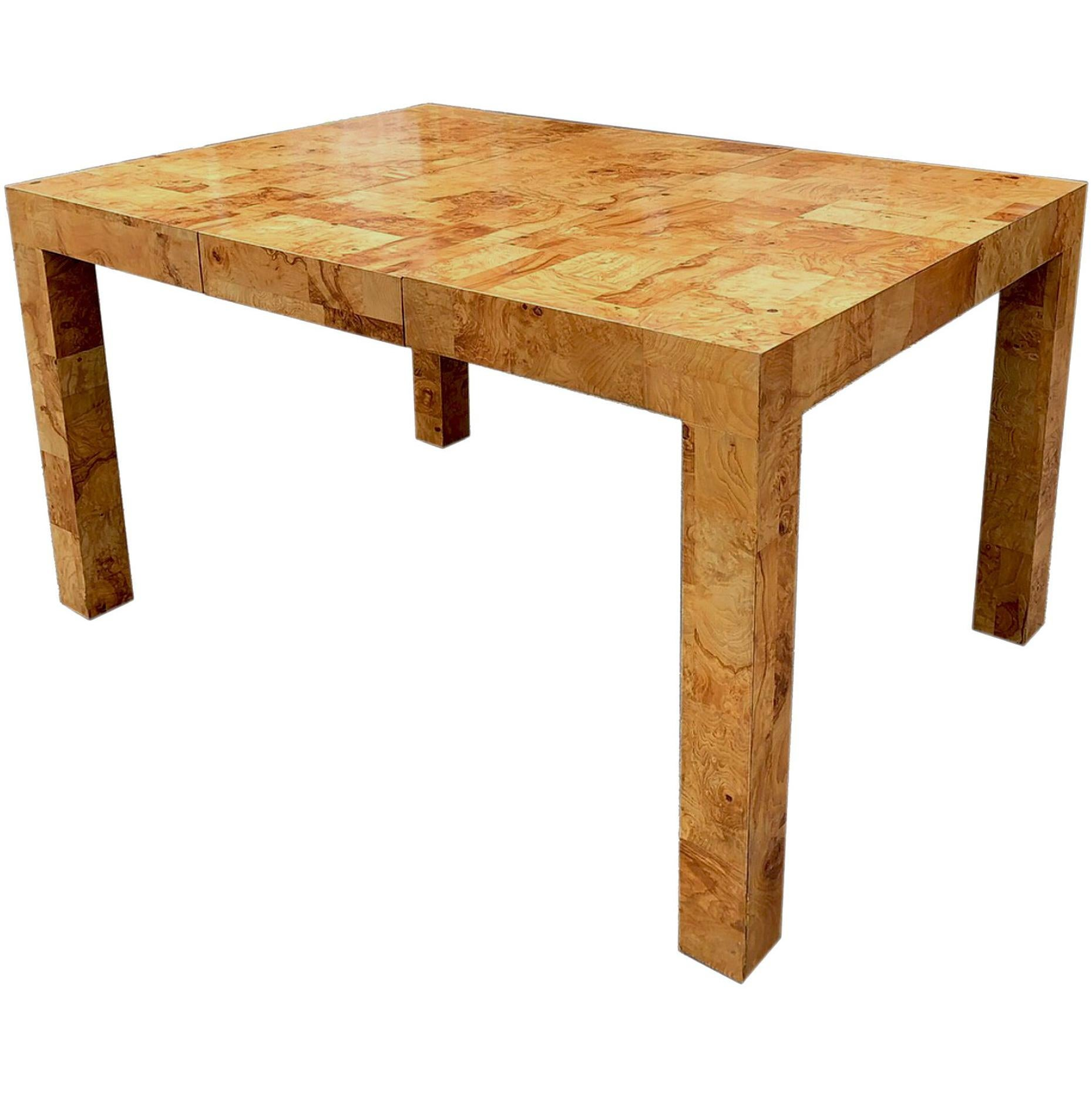 Signed Mid Century Paul Evans Burl Patchwork Dining Table