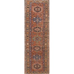 Vintage 1920s Rust/Orange Persian Heriz Carpet