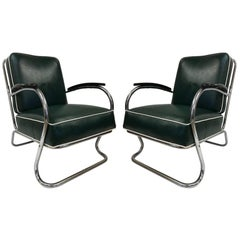 Pair of KEM Weber for Lloyd Tubular Chrome Lounge Chairs