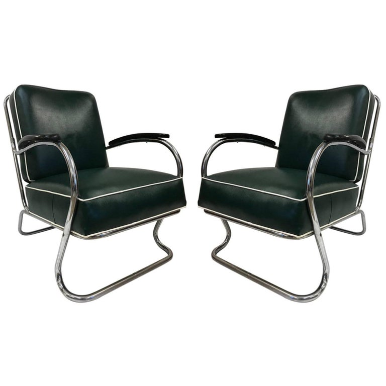 Pair of KEM Weber for Lloyd Tubular Chrome Lounge Chairs For Sale
