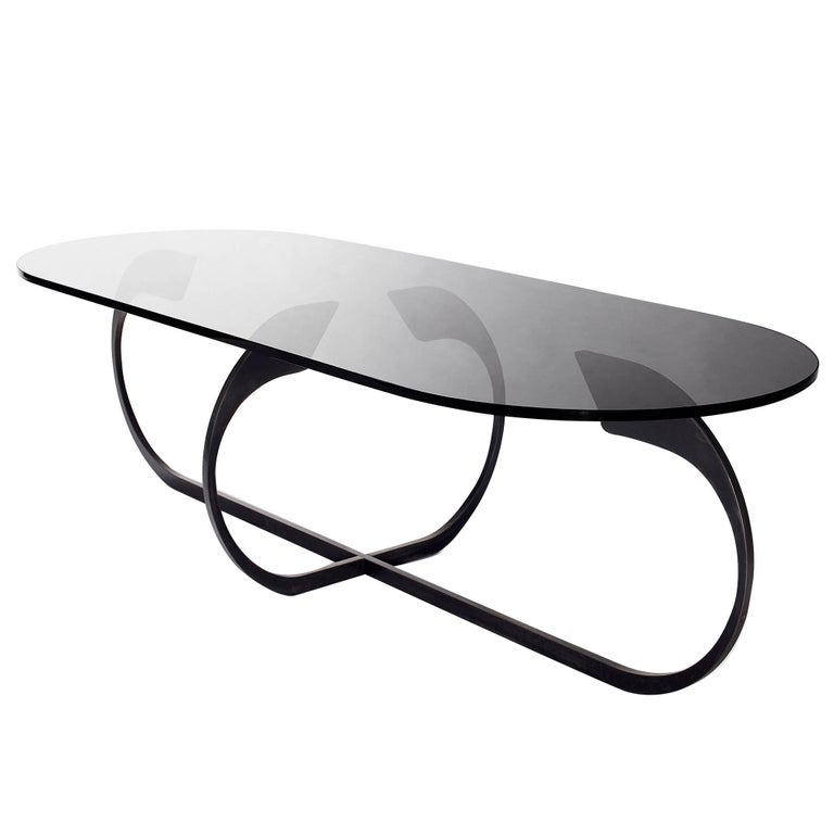 Interlock Steel and Smoked Glass Cocktail Table 2017 by Post & Gleam