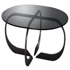 Interlock Steel and Smoked Glass Side Table 2017 by Post & Gleam
