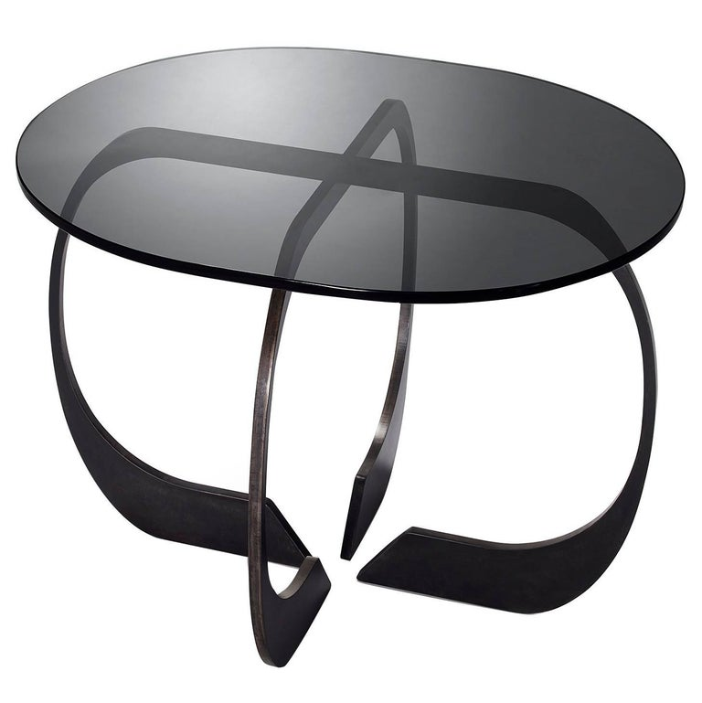 Interlock Steel and Smoked Glass Side Table 2017 by Post & Gleam For Sale