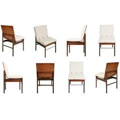 Brazilian Jacaranda and Linen Dining Chairs by Novo Rumo, Set of Eight