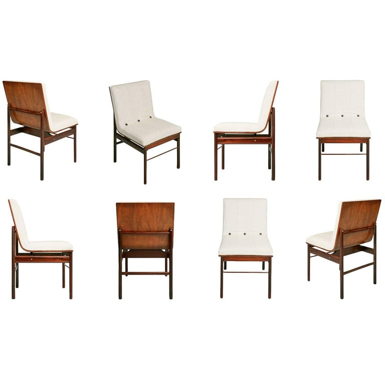 Brazilian Jacaranda And Linen Dining Chairs By Novo Rumo Set Of Eight For Sale