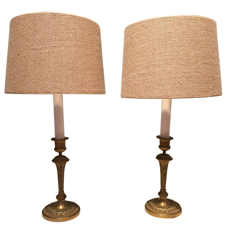 19th Century Pair of French Table Lamps Brass
