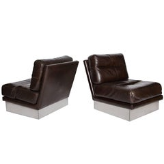 Jacques Charpentier Pair of Lounge Chairs, Brown Leather, Steel Base, 1970s